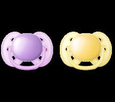 Dudlíky Avent 0-6m ULTRA SOFT - fialová/žlutá
