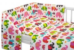 Mantinel s povlečením Baby Nellys ® Sloník HAPPY - bílý/sloni růžoví