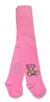 Bavlněné punčocháče Baby Nellys ® - Sweet Teddy - sv. růžové