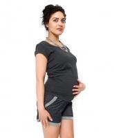 Těhotenské teplákové  kraťasy Nadia - granát