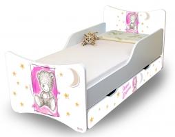 Dětská postel NELLYS Sweet TEDDY s šuplíkem - růžový