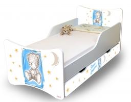 Dětská postel NELLYS Sweet TEDDY s šuplíkem - modrý