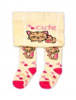 YO ! Bavlněné punčocháčky Koťátko - smetanové