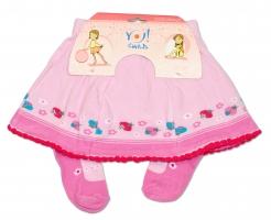 YO ! Bavlněné punčocháčky se sukničkou - sv. růžové s kytičkami