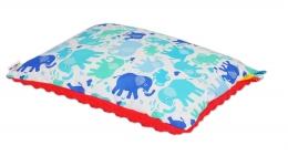 Samostatný polštář MINKY 30 X 40 cm. - Sloníci barevní/červená Minky