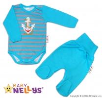 2D Souprava body dl. rukáv + polodupačky Baby Nellys ® - Kotvička - proužek tyrkys/šedé