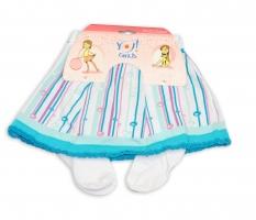 YO ! Bavlněné punčocháčky se sukničkou - bílé/modré s proužky