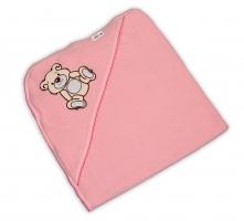 Dětská osuška TEDDY BEAR Baby Nellys s kapucí - sv. růžová