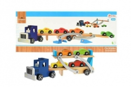 Auto přepravník + auta 4ks dřevo 55cm v krabici