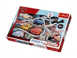 Puzzle + magický fix Auta/Cars Napínavý závod 70 dílků v krabici 33x23x4cm