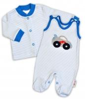 2-dílná kojenecká souprava Baby Nellys ® -  Autíčko - proužky modré