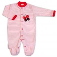 Bavlněný overálek Baby Nellys ® - Motýlek - proužky malinové