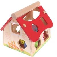 Dřevěný domek, vkládačka  ECO TOYS - Farma se zvířatky