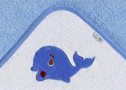 Osuška s kapucí - VELRYBA - modrá