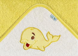 Osuška s kapucí - VELRYBA - žlutá
