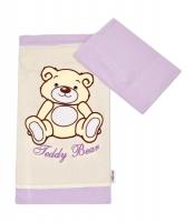 Povlečení do postýlky TEDDY BEAR Baby Nellys - jersey - lila