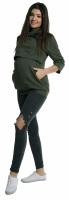 Těhotenské a kojící teplákové triko - oliva