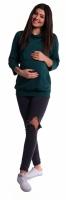 Těhotenské a kojící teplákové triko - tmavě zelené