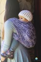 Little FROG Žakárový tkaný šátek na nošení dětí - LILAC VISION
