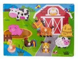 Dřevěné zábavné puzzle vkládací se zvukem Euro Baby - farma