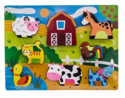 Dřevěné zábavné puzzle vkládací Euro Baby - Zvířátka na farmě