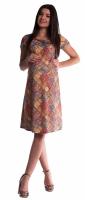 Těhotenské a kojící šaty s květinovým potiskem - cihlové