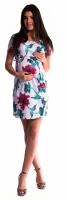 Těhotenské šaty s vázáním s květinovým potiskem - červené