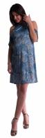Těhotenské šaty s volánkovými rukávy - tm. modré