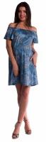 Těhotenské šaty s odhalenými rameny - tm. modré