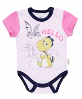 Bavlněné body krátký rukáv DINO Baby Nellys ®- Hello - růžové