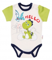 Bavlněné body krátký rukáv DINO Baby Nellys ®- Hello - krémové