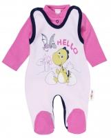 2 dílná sada - Bavlněné dupačky s košilkou DINO Baby Nellys ®- Hello - růžová