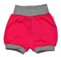 Bavlněné kraťásky Baby Nellys ® - růžové/šedý lem