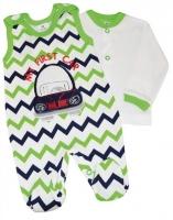 2-dílná kojenecká sada Baby Nellys ® ZIG ZAG - zelená/granát