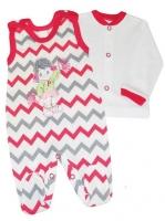 2-dílná kojenecká sada Baby Nellys ® ZIG ZAG - růžová/šedá