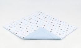 Hrací, přebalovací podložka 160x160cm - bílá/hvězdičky šedé,modré-sv. modrá