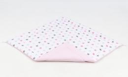 Hrací, přebalovací podložka 160x160cm - bílá/hvězdičky šedé, růžové-sv. růžová