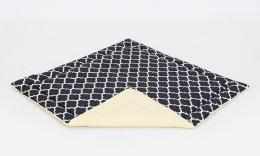Hrací, přebalovací podložka 120x120cm -černá/ornamenty-žlutá