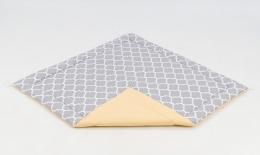 Hrací, přebalovací podložka 160x160cm - šedá/ornamenty-žlutá