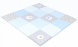 Hrací, přebalovací podložka 160x160cm - sv. modrá s výšivkami