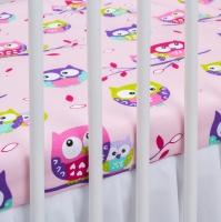 Bavlněné prostěradlo - Sovičky růžové