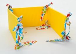 Mantinel na postýlku - žlutý, stuhy barevní sloni