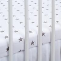 Bavlněné prostěradlo - bílé/šedé hvězdičky