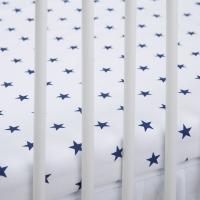 Bavlněné prostěradlo - bílé/tm. modré hvězdičky
