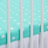 Bavlněné prostěradlo - mátové/bílé hvězdičky