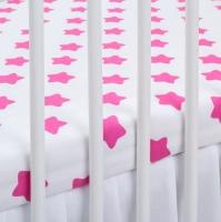 Bavlněné prostěradlo - bílé/tm. růžové hvězdy