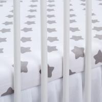 Bavlněné prostěradlo - bílé/šedé hvězdy