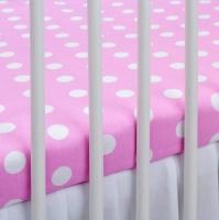 Bavlněné prostěradlo - růžové/bílé puntíky