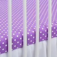 Bavlněné prostěradlo - fialové/bílé tečky