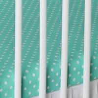 Bavlněné prostěradlo - mátové/bílé tečky